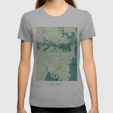 Sydney Map Blue Vintage Womens Fitted Tee Athletic Grey SMALL