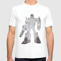 Optimus Black And White Mens Fitted Tee White SMALL