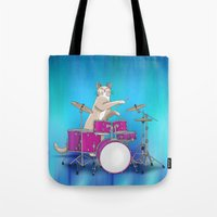 Cat Playing Drums - Blue Tote Bag