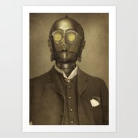 robot Art Prints featuring Baron Von Three PO  by Terry Fan