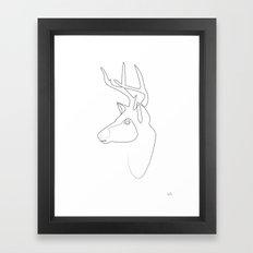 Oneline Stag Framed Art Print