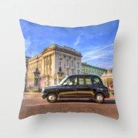 Taxi Buckingham Palace Throw Pillow