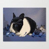Blue Biker Bunny Print Canvas Print