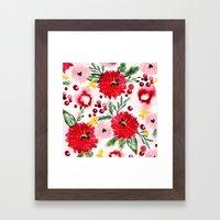 Christmas Floral Framed Art Print