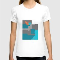 Utah State Map Print Womens Fitted Tee White SMALL