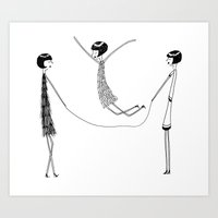 Flappers playing jump rope Art Print