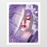 The Geisha With White Ha… Art Print