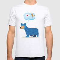 Bear Thinks Of Bird Mens Fitted Tee Ash Grey SMALL