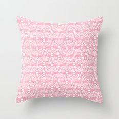 Folk Pattern Pink Throw Pillow