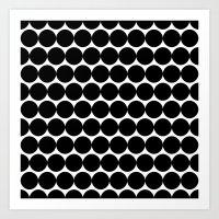 Black & White Polka Spots Art Print