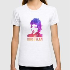 Bob Dylan Print Womens Fitted Tee Ash Grey SMALL