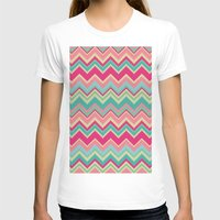 Aztec chevron pattern- pink & cream Womens Fitted Tee White SMALL