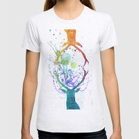 watercolor deer Womens Fitted Tee Ash Grey SMALL