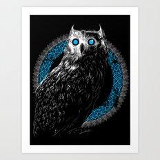 Midnight Owl - Teal Art Print