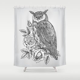Shower Curtain - Owl with flowers - UniqueD