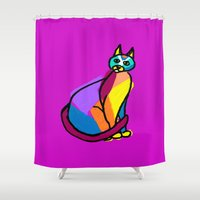 Colorful Cat Hero Shower Curtain