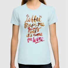 Coffee & Wine – Brown & Magenta Ombré Womens Fitted Tee Light Blue SMALL