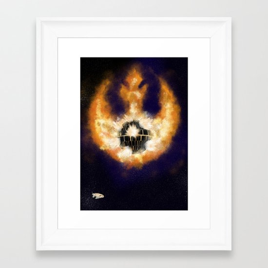 Death Star Destruction Framed Art Print