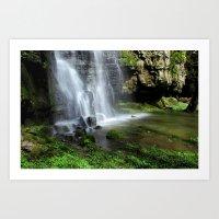 Waterfall At Swallet Fal… Art Print