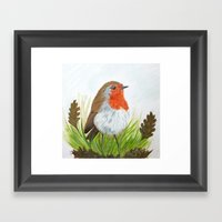 Robin With Oakleaves Framed Art Print