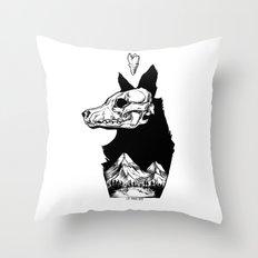Black Wolf Mountain Throw Pillow