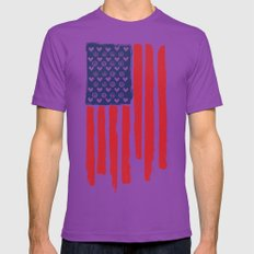 Red and Blue and White Mens Fitted Tee Ultraviolet SMALL