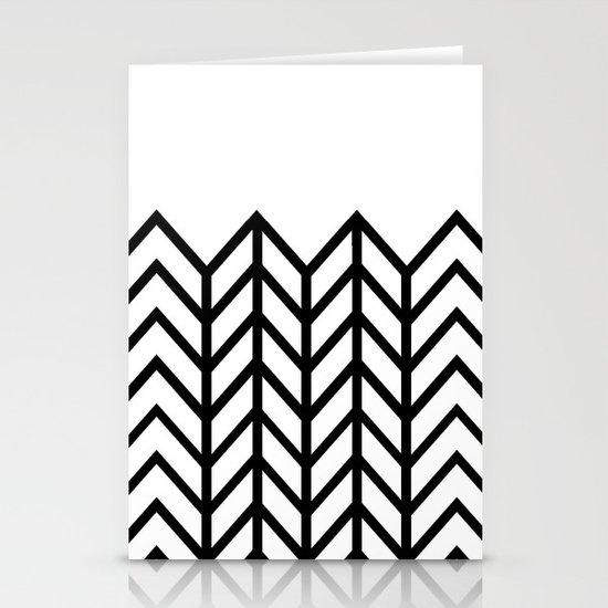BLACK & WHITE LACE CHEVRON Stationery Card