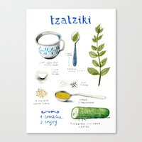 illustrated recipes: tzaziki Canvas Print