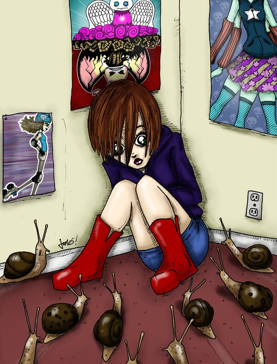 Girl in Corner Surrounded by Snails Scared by RonkyTonk Art Print