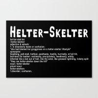 Helter Skelter (white on black) Canvas Print