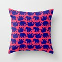 Elephants on Pink Throw Pillow