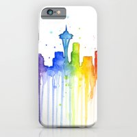 iPhone & iPod Case featuring Seattle Rainbow Watercolor by Olechka