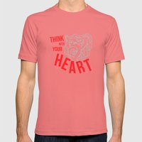 Think With Your Heart Mens Fitted Tee Pomegranate SMALL