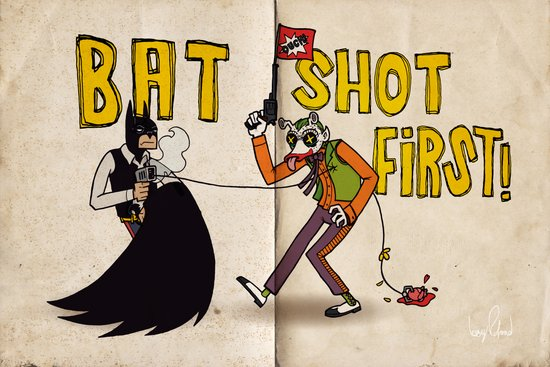 BAT SHOT FIRST Art Print