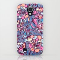 Galaxy S4 Cases featuring Sweet Spring Floral - soft indigo & candy pastels by micklyn