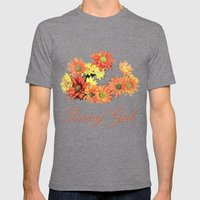 Daisy Girl. Orange, Yell… Mens Fitted Tee Tri-Grey SMALL