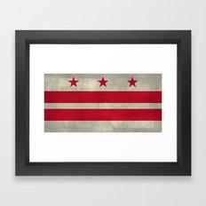 Washington D.C flag with worn vintage textures Framed Art Print