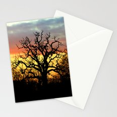 Winter sunset behind a curly tree Stationery Cards