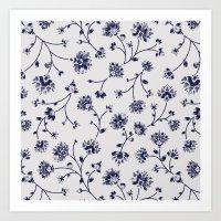Indigo Floral Trail (rev… Art Print
