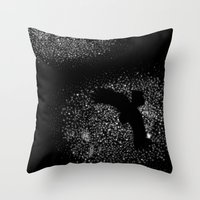 Seen from below against the backdrop of stars, it was blackest black Throw Pillow