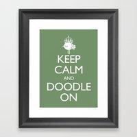 Keep Calm & Doodle On (Green) Framed Art Print