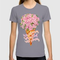 Ice Cream Sprinkled With Flowers Womens Fitted Tee Slate SMALL
