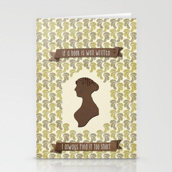 I always find Austen too short Stationery Card