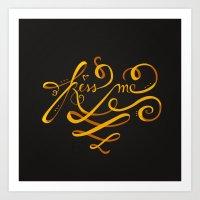 Kiss Me Typo Art Print