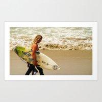 Surfer's Walk Art Print