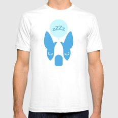 Boston Terrier Thoughts: Sleep. SMALL Mens Fitted Tee White