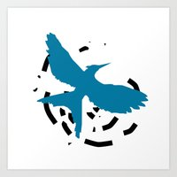 MockingJay Revolution - Blue Art Print