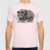 Panda Love Mens Fitted Tee Light Pink SMALL