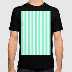 Vertical Stripes (Aquamarine/White) Mens Fitted Tee Black SMALL