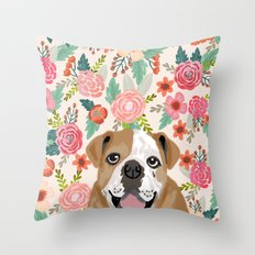 English Bulldog florals spring summer gardener flowers animal pet portrait bulldog owner must haves Throw Pillow